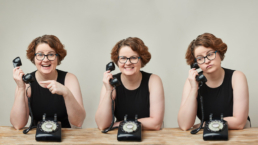woman answering the phone with 3 different expressions